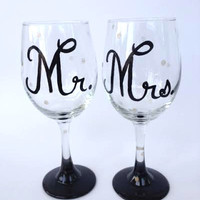 Mr. and Mrs. hand painted wine glass wedding or anniversary set