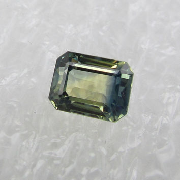 Bicolor Ceylon Sapphire in Emerald Cut Rare Natural Gemstone AA Quality September Birthstone Gemstone Engagement Ring