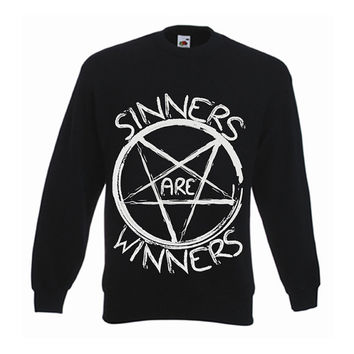 Drop Dead Style Pentagram Hipster Sinners Are Winners Indie Satanic Inverted Cross Hype Swag Unisex Sweater Men Jumper Different Alternative