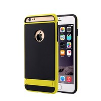 iPhone 6 Matte Hybrid Kickstand Case (Yellow Black)