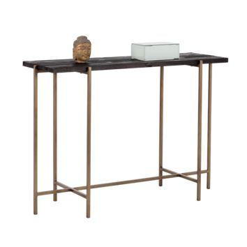ROHA ANTIQUE BRASS FINISH BASE WITH BLACK PLANKS OF RECYCLED PINE TOP CONSOLE TABLE