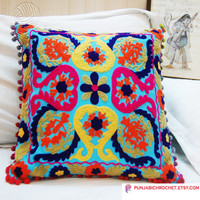 Indian Multicolored Hand Embroidered Pillow Cases Suzani Cushion Cover Tribal Uzbek Decorative Pillow Sofa cushion Cotton Pillow Cover 16x16