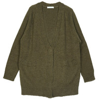 Green V Neck Cardigan