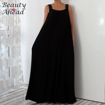 Women Cotton Knit Black Dress With Pockets  Elegant Floor Length Fashion Party Loose Fit Maxi Dress