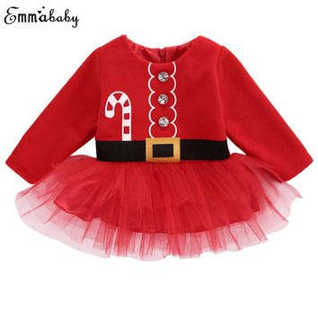 2018 Christmas Dress Baby Girl Clothes Long Sleeve Xmas Santa Claus Girls Dress Long Sleeve Costume Ball Gown Mesh Dresses