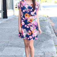 Full Bloom Floral Scalloped Edge Dress {Navy Mix}