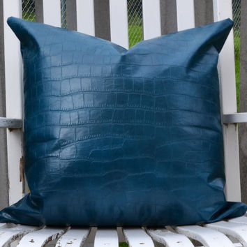 Pillow cover fabric in faux leather  throw pillow fabric turquoise alligator faux fabric.