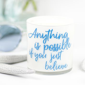 Anything Is Possible Quote Jar in Fairy's Dust Scent