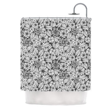 "Julia Grifol ""Candy Flowers In Black"" Gray White Shower Curtain"