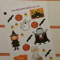 Fun Halloween themed stickers Planner / Calendar stickers for your Erin Condren, Inkwell Press, Plum Paper, Happy Planner, Filofax
