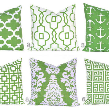 Kelly Green Pillows, Pillow Covers, Decorative Throw Pillow Covers, Green Cushion Covers, Kelly Green Greek Key, St. Patrick's Day Decor