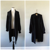 Oversized Long Black Cardigan Sweater Vintage 80s Boucle Open Front Duster Jacket Coat Womens Small Medium Basic Minimal Dress Top 1980s