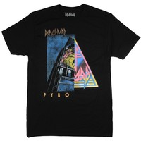 Def Leppard T Shirt Distressed Pyromania And Original Logo Half And Half Design Tee - Big And Tall Sizes