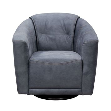 Murphy Swivel Accent Chair in Light Grey Fabric