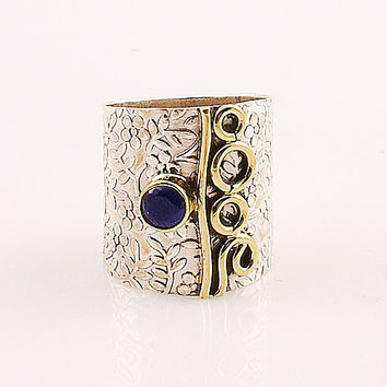 Two Tone Sapphire Wide Band Ring
