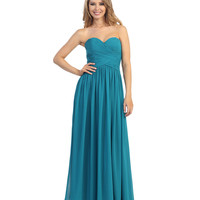 Teal Chiffon Cross Ruched Strapless Sweetheart Gown 2015 Homecoming Dresses