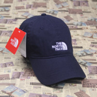 The North Face Embroidered Navy Blue Cotton Baseball Cap Hats