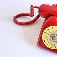 Vintage Red - Cream Rotary Phone