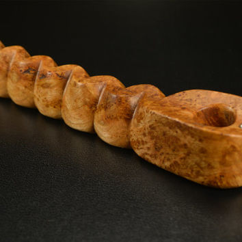 Ember Out Pipes Presents: RIBBON CANDY Pipe, Cherry Burl Wood « Purse Pipe, Hand Carved, Figured Wood, Rustic, Short Pipe »