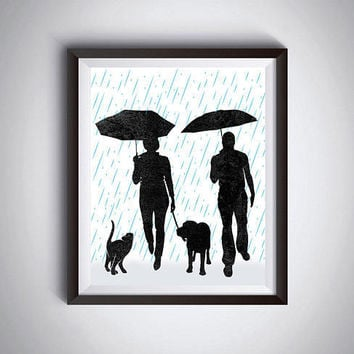Couple under umbrella Dog print Cat print Walk with pets Anniversary card Romantic wall decor Modern minimalist Gift under 10 Print it out