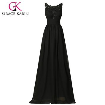 Real Samples Elegant Evening Gown Long Formal Black Appliques Chiffon Evening Dress Party Pageant Evening Dress