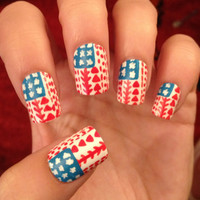 Tribal/Aztec American Flag Fake Nails Nail Art