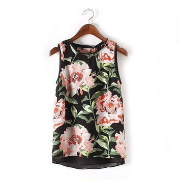 Summer Floral Crop Tops Sleeveless Two Layers Camisole Flower Pattern Print Tank Top = 4768815236