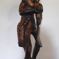 "Wood Carved Man Playing Instrument, 22"" Tall Wooden Man Playing Instrument, Folk Art Carving of Barefoot Man Playing Instrument"