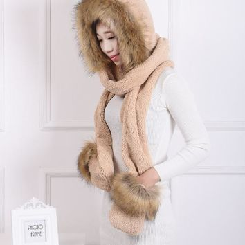 [Dexing] Faux Fur Hood Animal Hat Ear Long Scarf gloves  Fur Hood Hat With Paws Beanie Cap Winter Hat for women