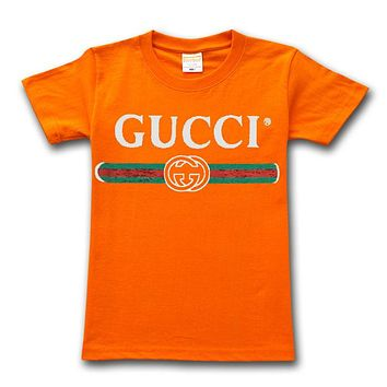 GUCCI high quality men and women classic print round neck loose half sleeve t-shirt Orange