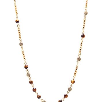 Men's Gold Chain with Brown Tiger Eye Beads