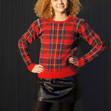 Ralph Lauren Wool Tartan Punk Plaid Sweater