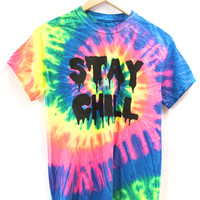 STAY CHILL Neon Rainbow Tie-Dye Graphic Unisex Tee