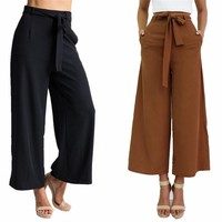 Women's Vintage Loose Fit Bow Tie High Waisted Casual Ankle-Length Wide Leg Pants Pockets Trousers S-XL 2016 New