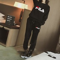 """Fila"" Women Casual Fashion Letter Long Sleeve Gold Velvet Sweater Trousers Set Two-Piece Sportswear"