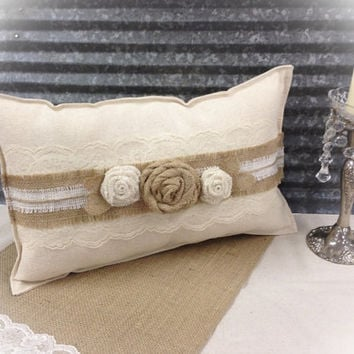 Canvas Pillow with Ivory lace & Burlap roses and twine