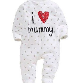 Newborn Baby Boy Girl Infant I Love Mummy Daddy Long Sleeve Romper Jumpsuit Clothes