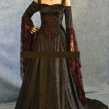 Renaissance Medieval Gothic Black Red Pagan Wicca Dress Cosplay Costume