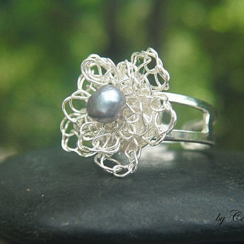 Flower Crocheted in Silver Plated Wire with Grey Freshwater Pearl