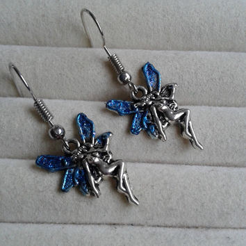 Closing sale -fantasy blue glitter  fairy  silvertone  dangle earrings