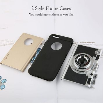 Korean Style Retro Camera Phone Cases For iphone 7 6 6s 5 5s SE Case Fashion Soft Silicone Rubber Back Cover Shell With Lanyard