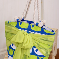 Whales Sarong Along Tote Bag {Blue + Yellow}