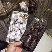 Louis Vuitton Bear PU Mobile Phone Shell iPhone Phone Cover Case For iphone 8 8plus iPhone6 6s 6plus 6s-plus iPhone 7 7plus