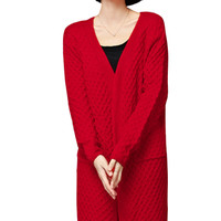 Ribbed Knitted Open Front Long Cardigan