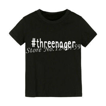 Threenager Letters Print Kids t shirt Boy Girl shirt Casual Children Toddler Funny Hipster Top Tees Black White Gift ZT2-40