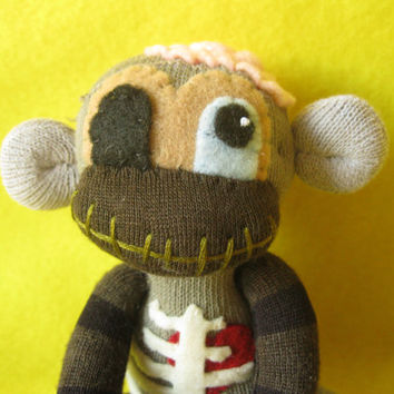 Baby Zombie Sock Monkey No. ZSJ32015-106 - Handmade Cute Horror Doll