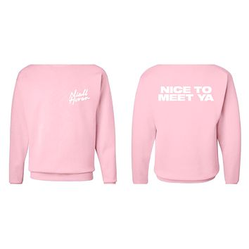 "Niall Horan ""Niall Horan NEW Logo CORNER / Nice to Meet Ya BACK"" Crew Neck Sweatshirt (Sizes 3XL-5XL)"