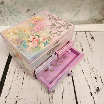 Made on order personalized jewelry box with mirror and drawers gift idea shabby chic beautiful pastel flowers pink gift idea for her spring