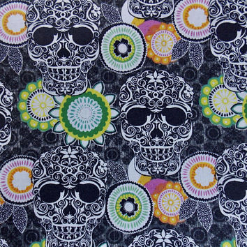 Sugar Skull Fabric Skull Fabric Mexican Fabric Day of the Dead Fabric Sugar Skulls Craft Fabric BTY Fabric BTHY Fabric Cotton Fabric
