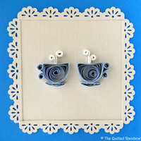 Quilled Tea Cups - Handmade Retirement, Moms Birthday, Parents Anniversary, Mothers Day card